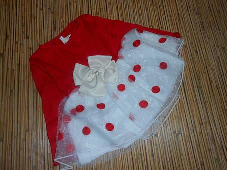 Платье нарядное детское на девочку длинный рукав красное с бантиком, фото 2