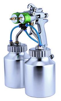 Краскопульт пневматичний тип HVLP (2 нижніх метал. бачка, 2 форсунки) діаметр -1,3 мм Auarita PT-29B-1.3