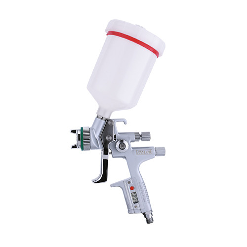 Краскопульт пневматический цифровий HVLP верх.пласт.бачок 600мл, форсунка-1,4мм  ITALCO H-5000-Digital-1.4