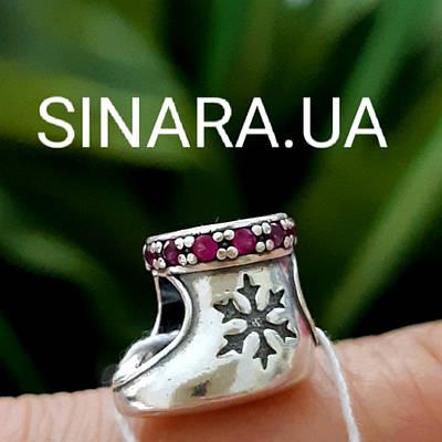 Шарм Рождественский Сапожек Пандора серебро 925 - Сапожек для подарков шарм серебряный