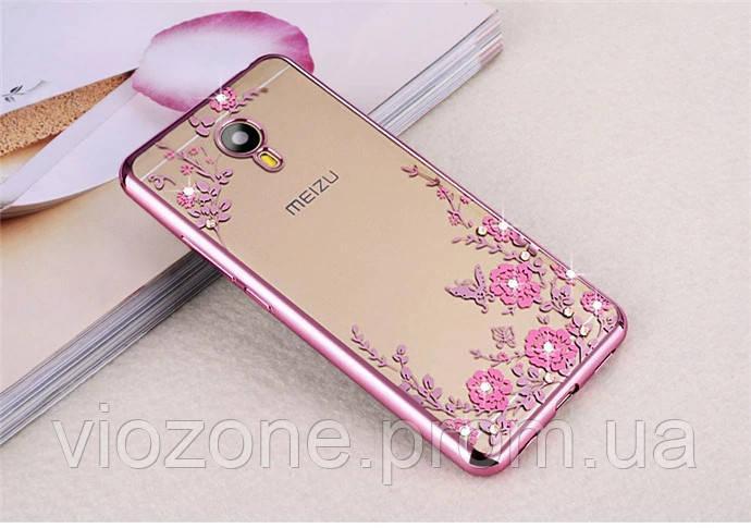 Чехол/Бампер со стразами для Meizu M5 Розовый (Силиконовый)