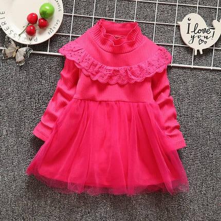 Платье нарядное детское на девочку длинный рукав розовое, фото 2