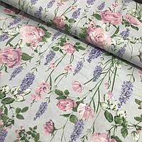 Хлопок Премиум с розовыми розами и фиолетовым люпинами на серо-голубом, ширина 160 см