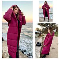 Пальто пуховик одеяло зима OVERSIZE с капюшоном арт. М521 марсала