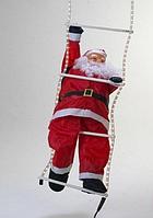 Новогодний декор на стену Bonita Дед Мороз 60 см на светящейся лестнице дюралайт