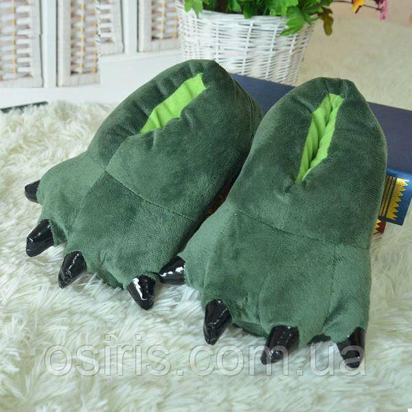 Домашние тапки лапы - когти плюшевые с задниками зеленые (36-39 р ... cb5c1e501e6