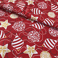 Ткань скатертная с золотыми и красными ёлочными игрушками на красном фоне, ширина 160 см