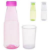 Бутылочка 9784598 (100шт) 400мл, стакан, микс цветов, в кульке, 21-7-7см