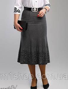 Женская трикотажная юбка годе больших размеров (2000-2001-2002-2003 svt) Серый 03