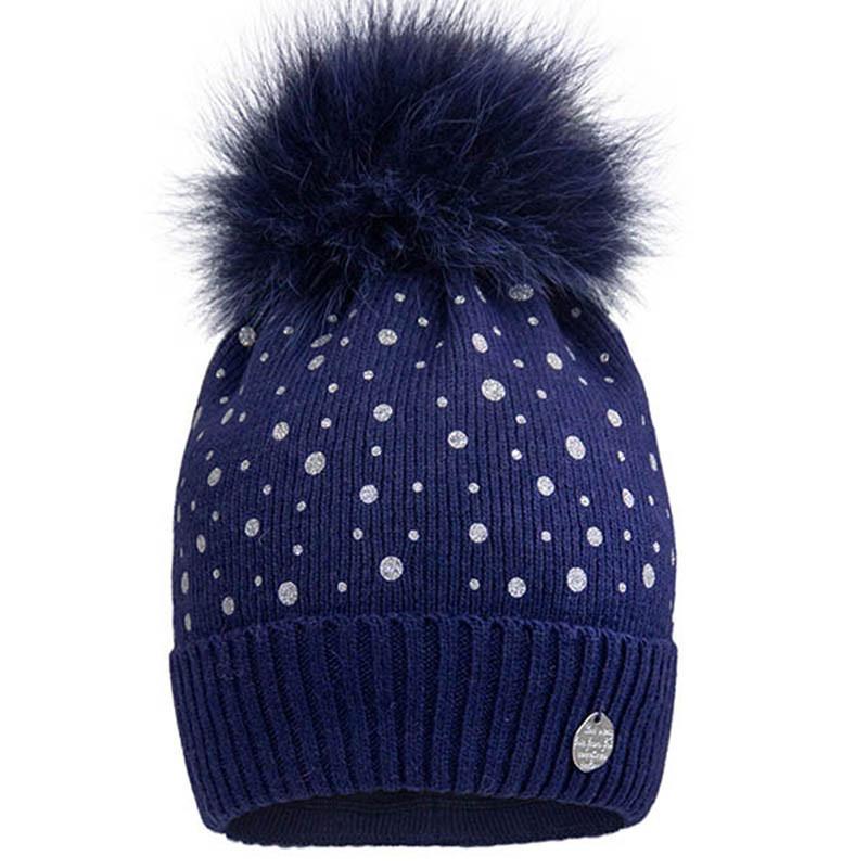 Вязаная шапка для девочки с бубоном  р-ры 50,52