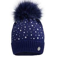 Вязаная шапка для девочки с бубоном  р-ры 50,52, фото 1
