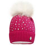 Вязаная шапка для девочки с бубоном  р-ры 50,52, фото 2