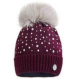 Вязаная шапка для девочки с бубоном  р-ры 50,52, фото 3