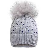 Вязаная шапка для девочки с бубоном  р-ры 50,52, фото 4