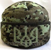 №1 -  Зимняя вязаная шапка светлый пиксель с подворотом и гербом Украины, флисом на всю голову