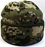 №4 -  Зимняя вязаная шапка темный пиксель с подворотом, флисом на всю голову