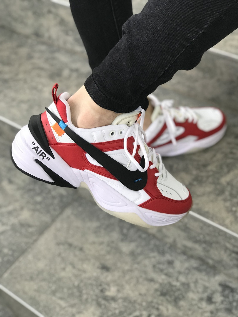 the latest 4ef74 0774b Кроссовки в стиле Off White x Nike M2K Tekno Red White Black мужские