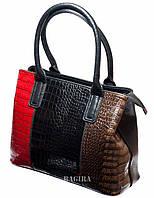 Женская сумка с цветными лаковыми вставками