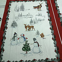 Льон рушникові новорічний з оленями і сніговиками, ширина 80 см