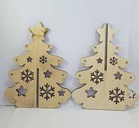Дерев'яна новорічна ялинка зі сніжинками 4угла / Новорічну прикрасу 17x13 см