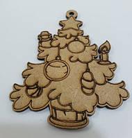 Деревянная новогодняя елочка под роспись / Новогоднее украшение 9x7 см