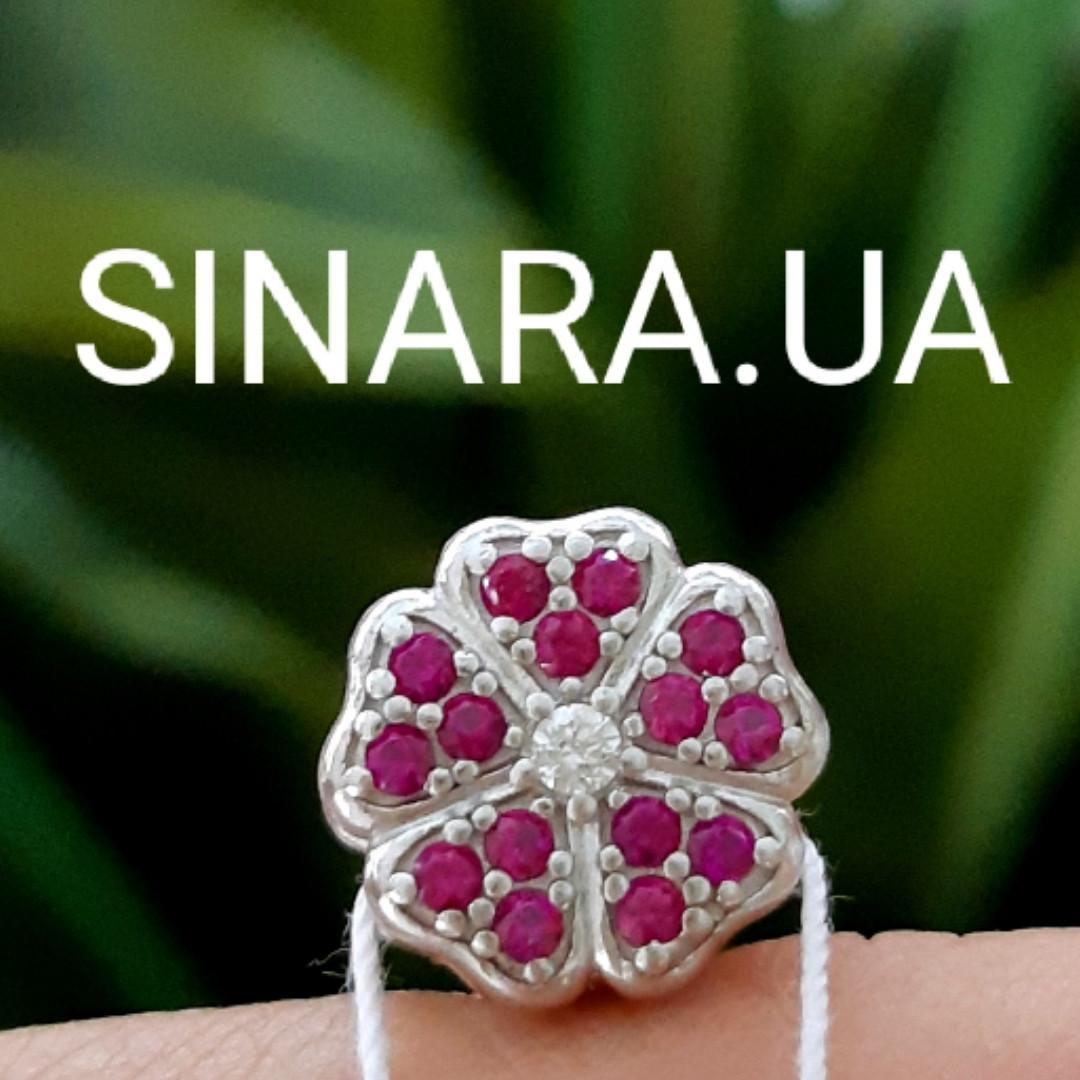 Шарм бусина Пандора Сакура розовая - Серебряный шарм розовый цветок Пандора