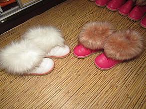 Угги детские зимние белые из  PU кожи с опушкой, фото 2