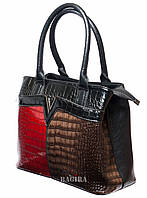 Женская сумка с лаковой вставкой под кожу рептилии