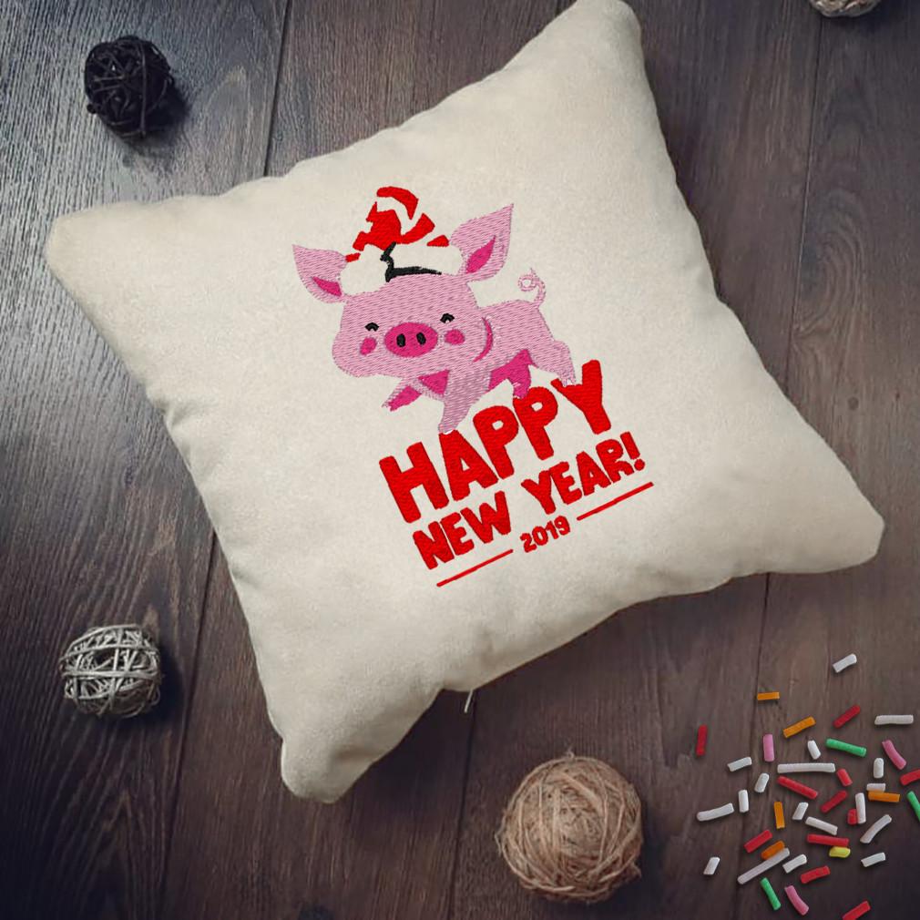 """Новогодняя подушка Slivki """"Happy New Year 2019"""" 06, цвет бежевый 30х30см"""