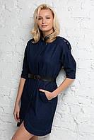 Джинсовое платье-тренч SOLO синее, фото 1