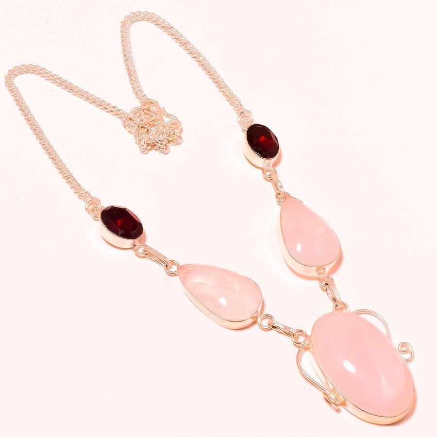 Колье розовый кварц гранат ожерелье с кварцем гранатом в серебре Индия
