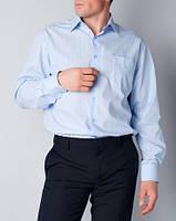 Мужская рубашка классическая белая в голубую полоску