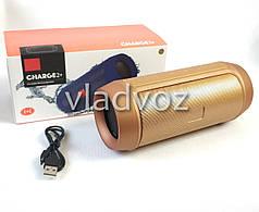 Портативная колонка bluetooth акустика блютуз для телефона мини с флешкой повербанк бронза charge 2+