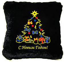 "Декоративная подушка Slivki ""Новогодняя елка!"" 37, цвет черный 30х30см"