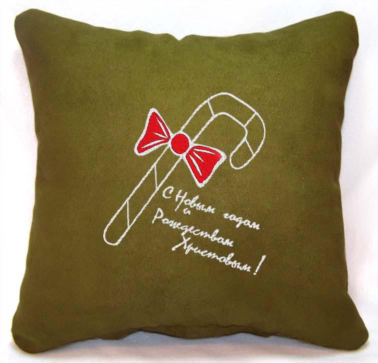 """Новогодняя подушка Slivki """"Карамельная трость"""" 36, цвет зеленый 30х30см"""