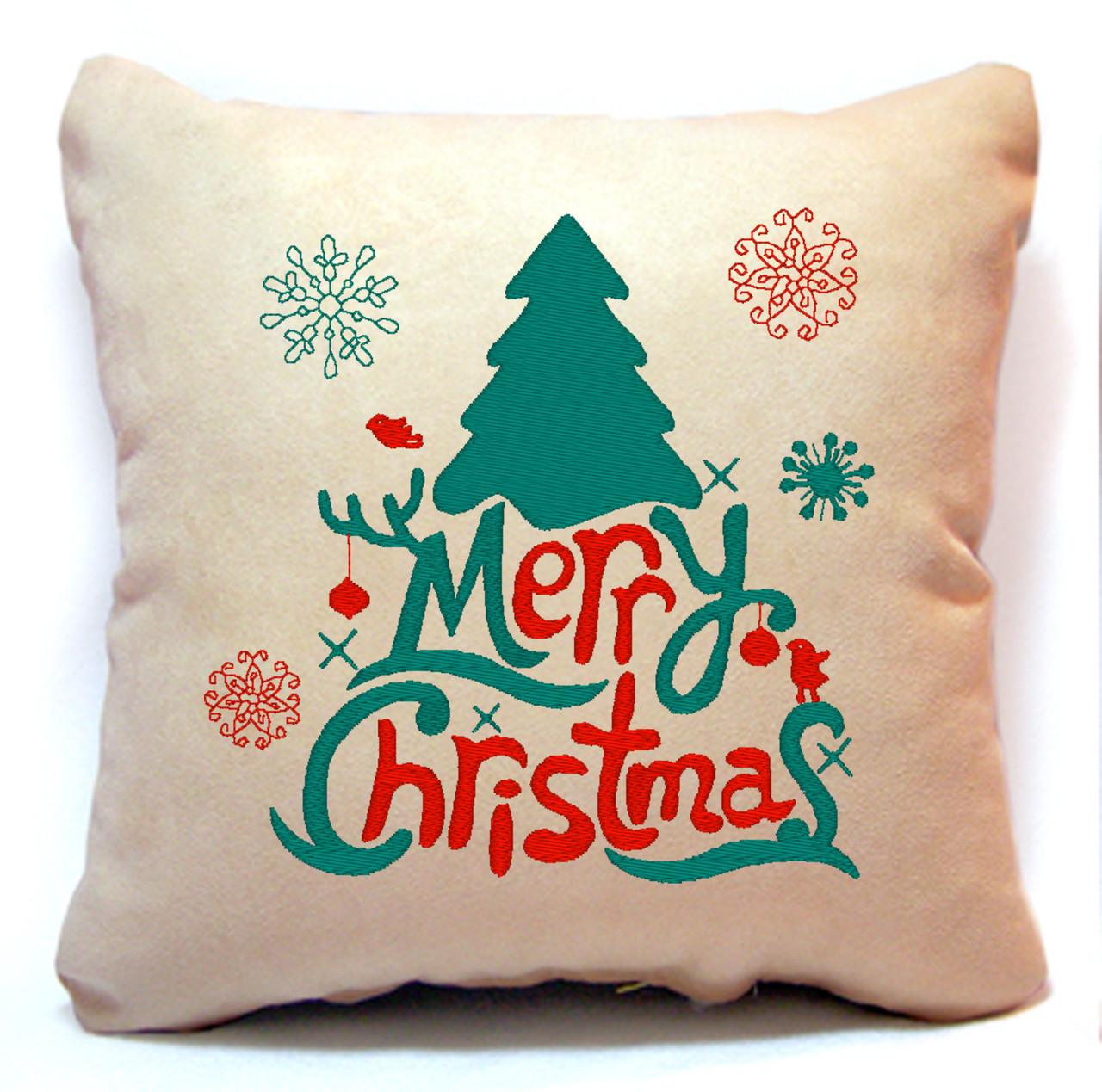 "Новогодняя подушка Slivki ""Merry Christmas!"" 44, цвет бежевый 30х30см"
