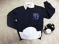 Нарядная кофта на девочку темно синяя + блузка белая школа на 6 - 7.8-9  лет