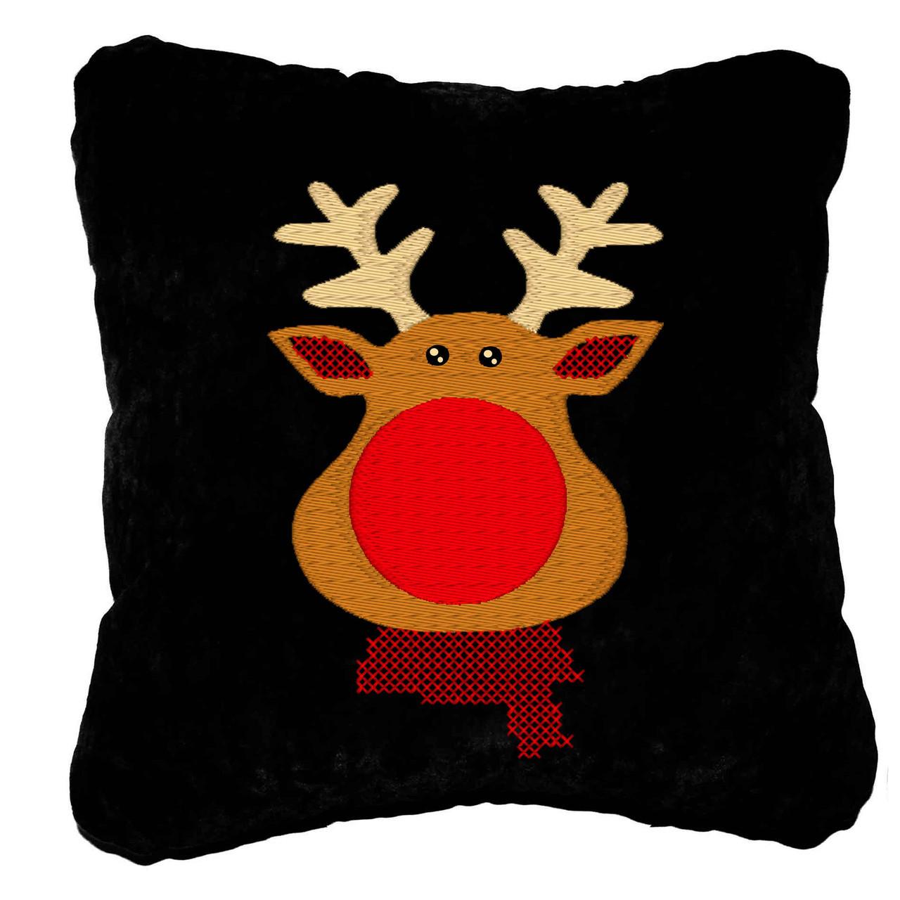 """Новогодняя подушка Slivki """"Олень"""" 24, цвет черный 30х30см"""