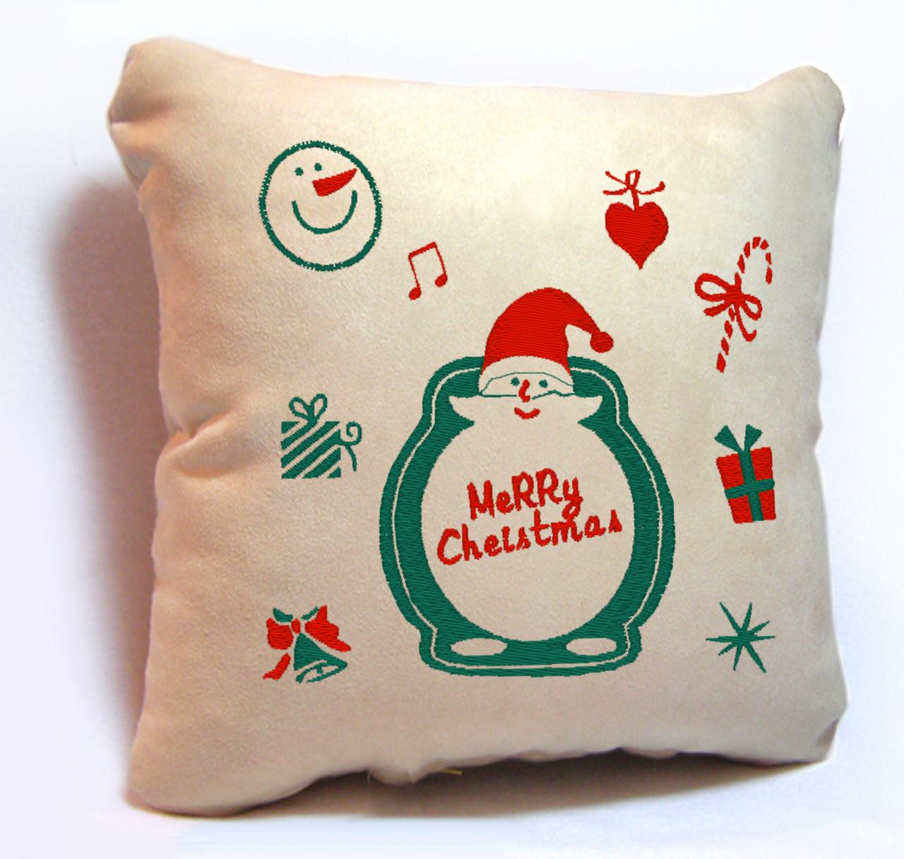 "Новогодняя подушка Slivki ""Merry Christmas"" 27, цвет бежевый 30х30см"