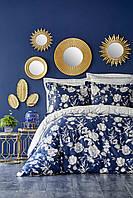 Постельное белье Karaca Home сатин Elvira lacivert 2019-1 синий евро размер