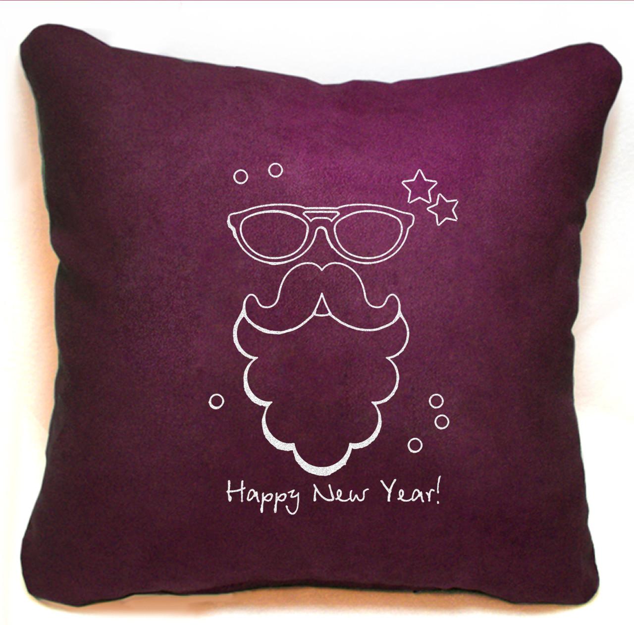 """Новогодняя подушка Slivki """"Happy New Year"""" 38, бордовый 30х30см"""