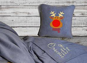 """Новогодний набор: подушка + плед Slivki """"Новый год приносит только Счастье!"""" 20 цвет серый"""