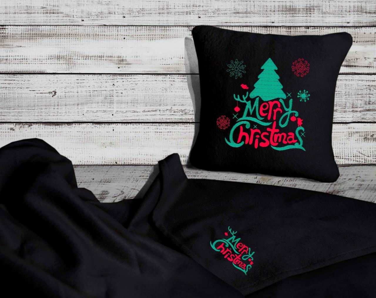 "Новогодний набор: подушка + плед Slivki ""Merry Christmas"" 26 цвет черный"