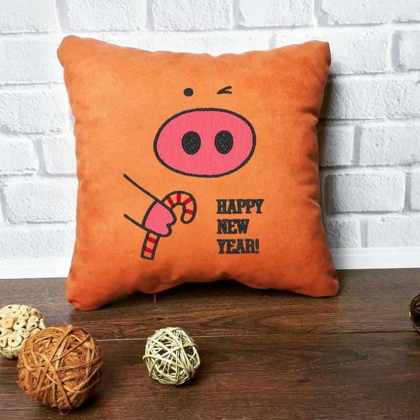 """Новогодняя подушка Slivki """"Happy New Year"""" 13, цвет оранжевый 30х30см"""