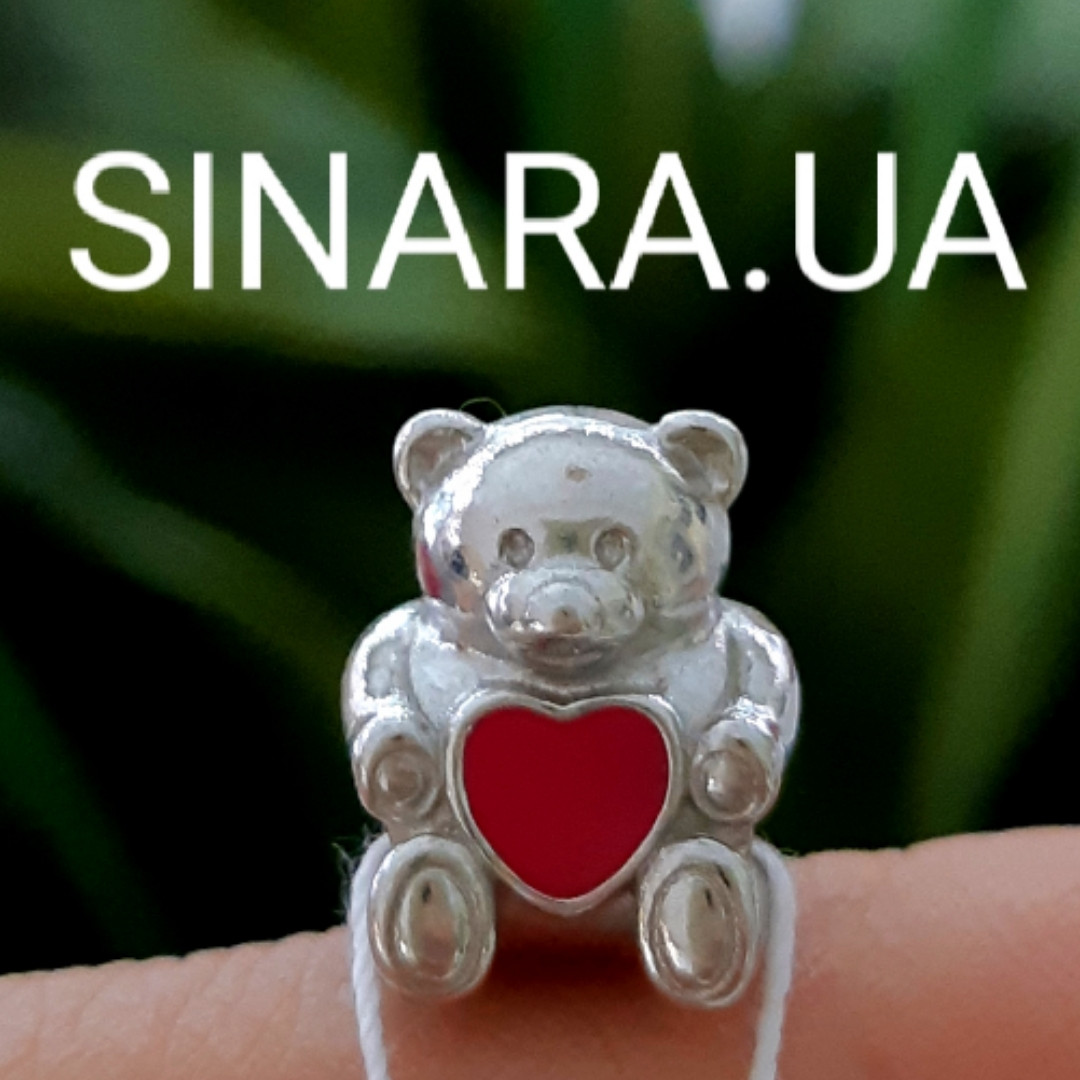Шарм бусина Пандоры Медвежонок с сердцем серебро 925 пробы - Серебряный шарм Мишка с сердцем