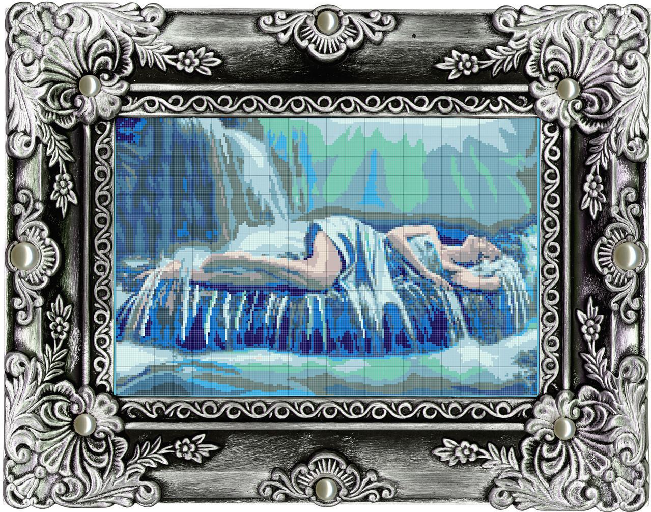 девушка и водопад схема вышивки крестом
