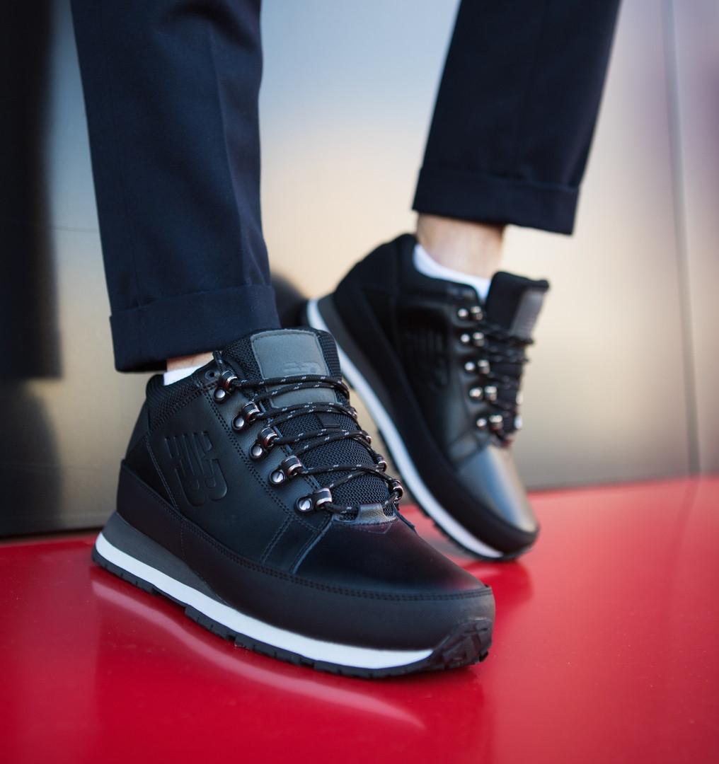 Мужские черные зимние New balance 754 (black), кожаные черные ботинки