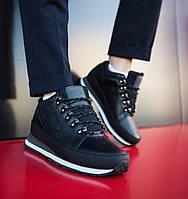 Мужские черные зимние New balance 754 (black), кожаные черные ботинки, фото 1