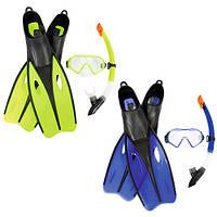 BW Набор для плавания 25023 (6шт) маска,трубка,ласты,регулир.ремешок,2цв,в сетке,