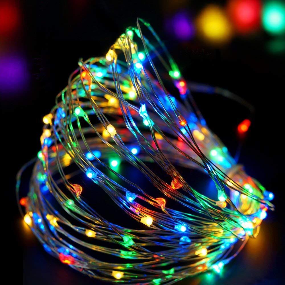 Светодиодная гирлянда нить 10м 100led в розетку220в разноцветная RGB